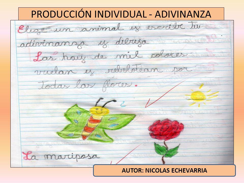 PRODUCCIÓN INDIVIDUAL - ADIVINANZA