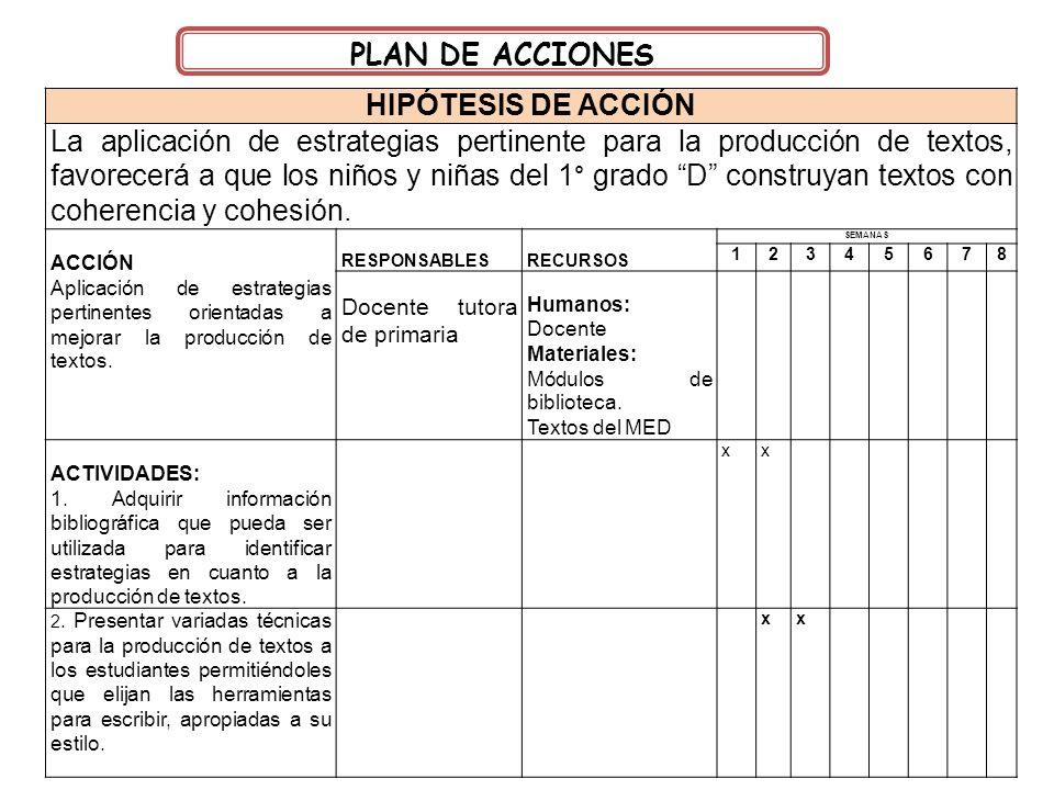PLAN DE ACCIONES HIPÓTESIS DE ACCIÓN