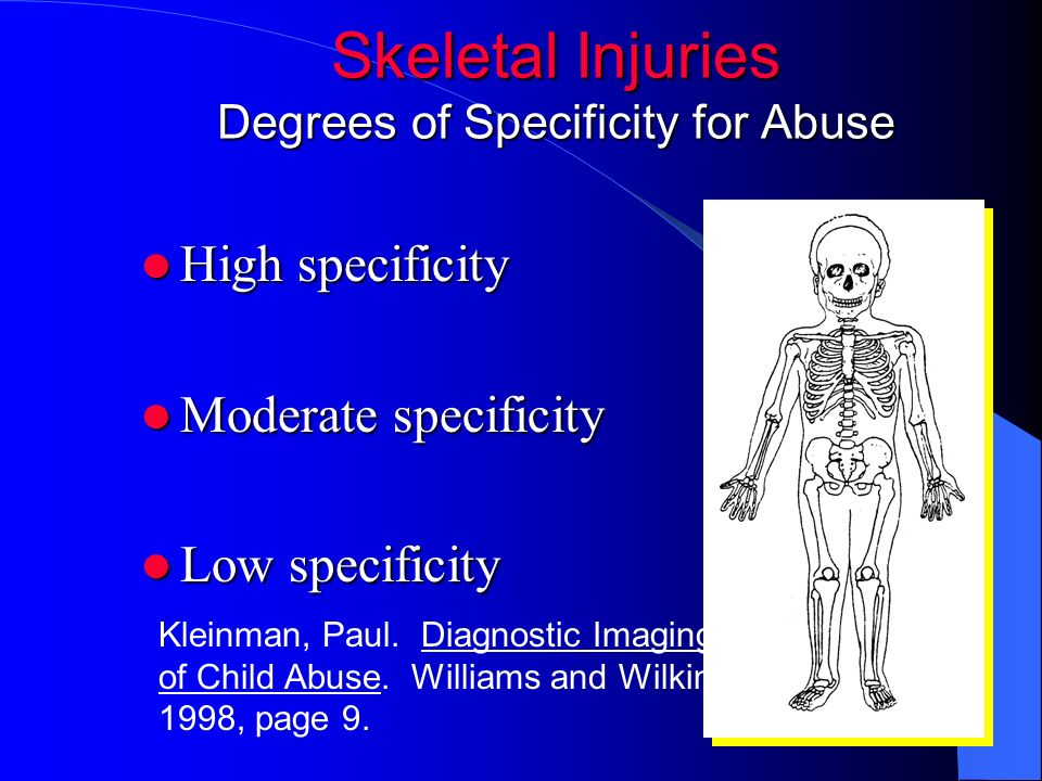 Skeletal Injuries Degrees of Specificity for Abuse