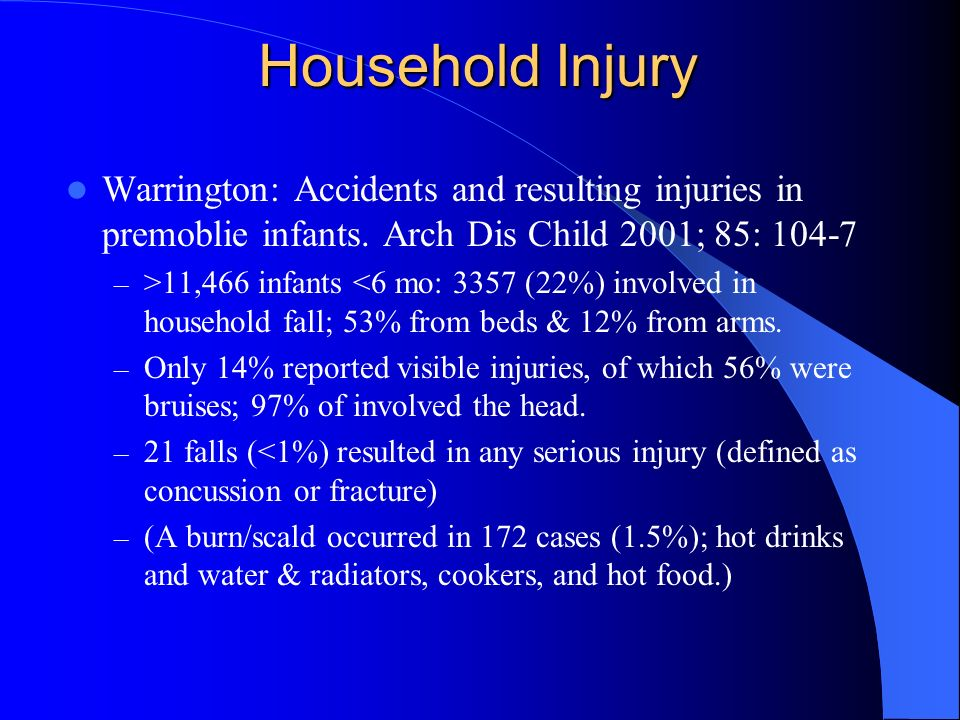 Household Injury Warrington: Accidents and resulting injuries in premoblie infants. Arch Dis Child 2001; 85: 104-7.