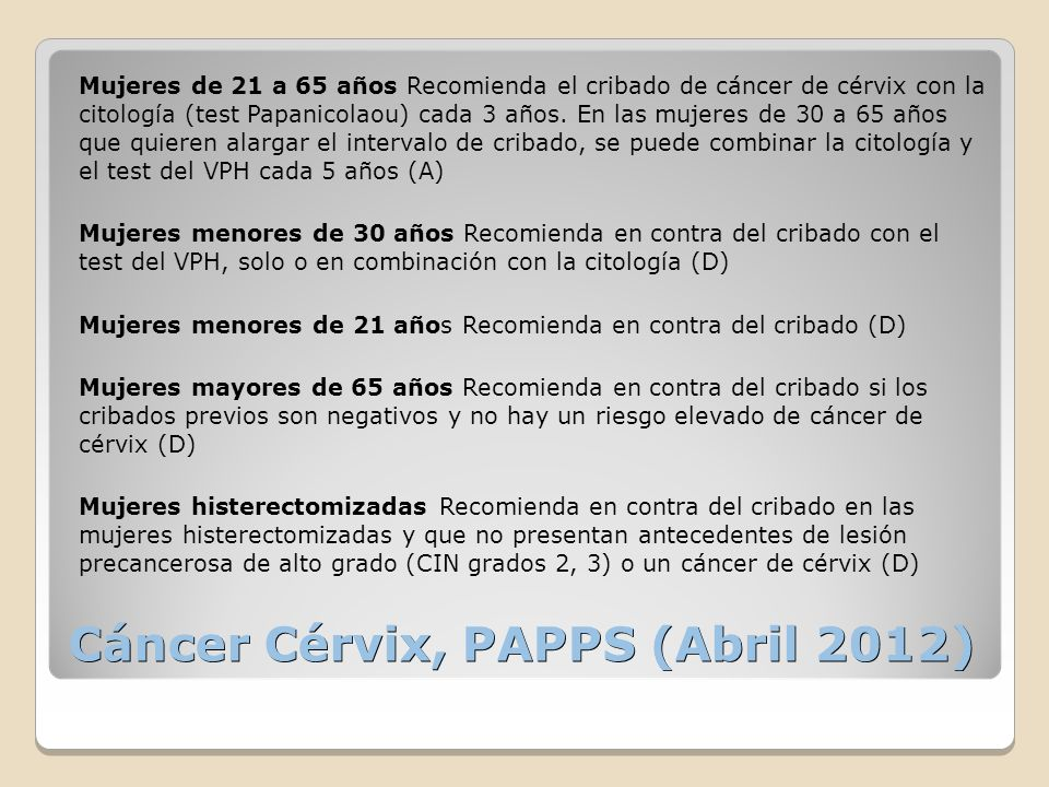 Cáncer Cérvix, PAPPS (Abril 2012)