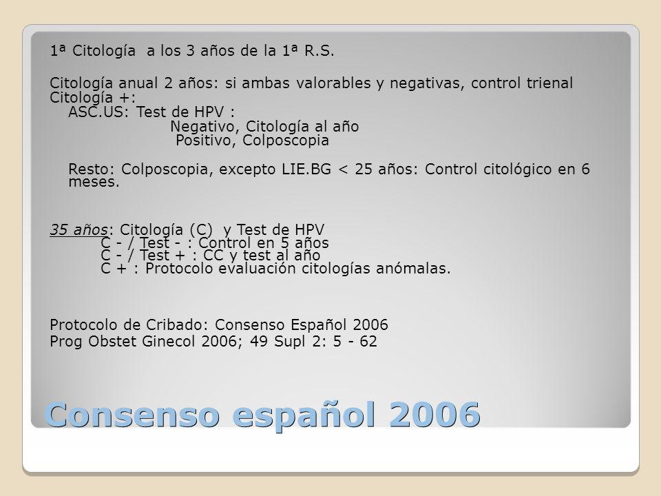 Consenso español 2006 1ª Citología a los 3 años de la 1ª R.S.