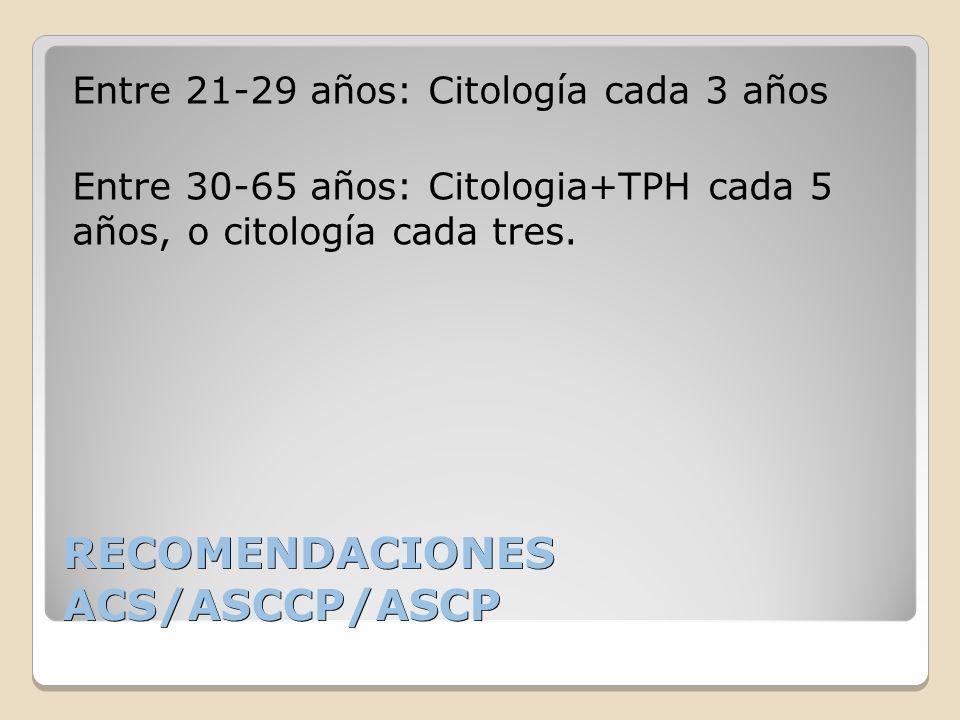 RECOMENDACIONES ACS/ASCCP/ASCP