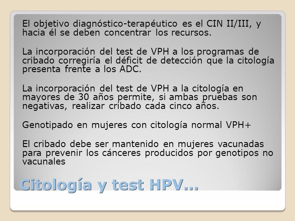 El objetivo diagnóstico-terapéutico es el CIN II/III, y hacia él se deben concentrar los recursos.