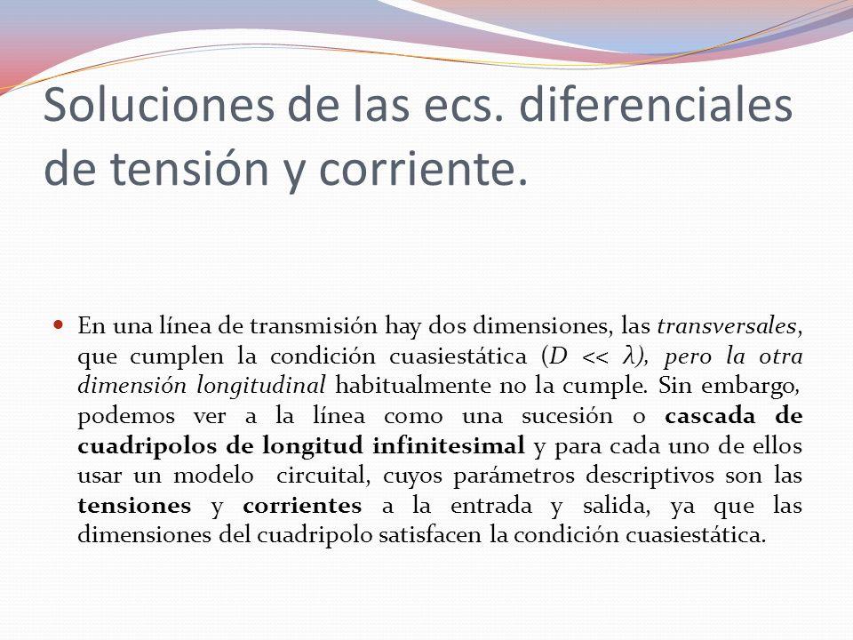 Soluciones de las ecs. diferenciales de tensión y corriente.