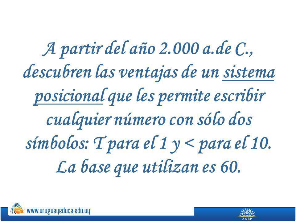 A partir del año 2.000 a.de C., descubren las ventajas de un sistema posicional que les permite escribir cualquier número con sólo dos símbolos: T para el 1 y < para el 10.