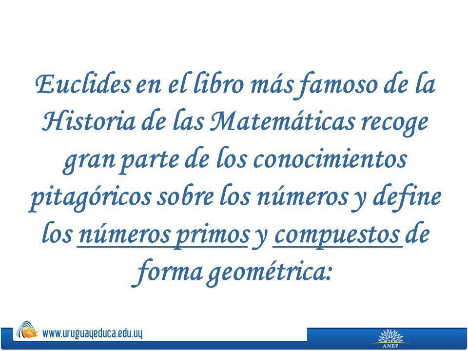 Euclides en el libro más famoso de la Historia de las Matemáticas recoge gran parte de los conocimientos pitagóricos sobre los números y define los números primos y compuestos de forma geométrica:
