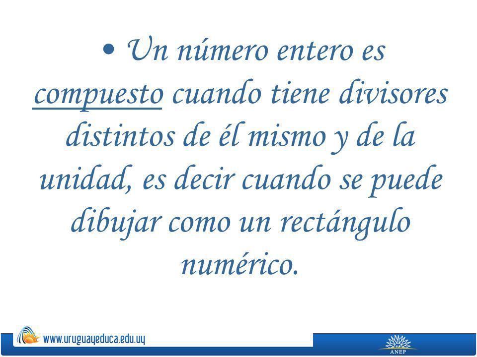 Un número entero es compuesto cuando tiene divisores distintos de él mismo y de la unidad, es decir cuando se puede dibujar como un rectángulo numérico.