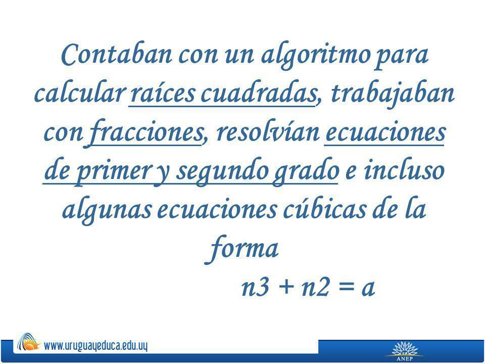 Contaban con un algoritmo para calcular raíces cuadradas, trabajaban con fracciones, resolvían ecuaciones de primer y segundo grado e incluso algunas ecuaciones cúbicas de la forma n3 + n2 = a