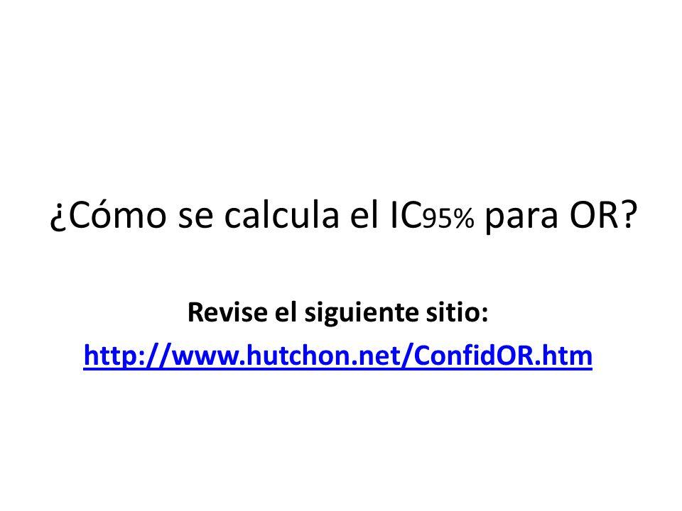 ¿Cómo se calcula el IC95% para OR
