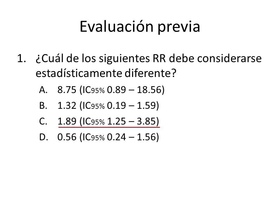 Evaluación previa ¿Cuál de los siguientes RR debe considerarse estadísticamente diferente 8.75 (IC95% 0.89 – 18.56)