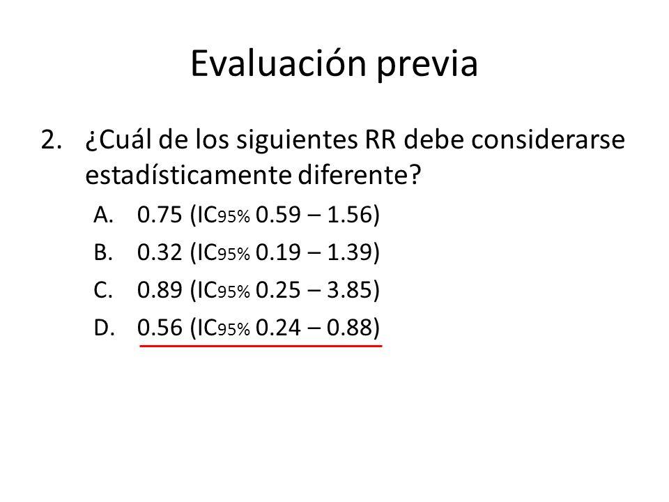 Evaluación previa ¿Cuál de los siguientes RR debe considerarse estadísticamente diferente 0.75 (IC95% 0.59 – 1.56)