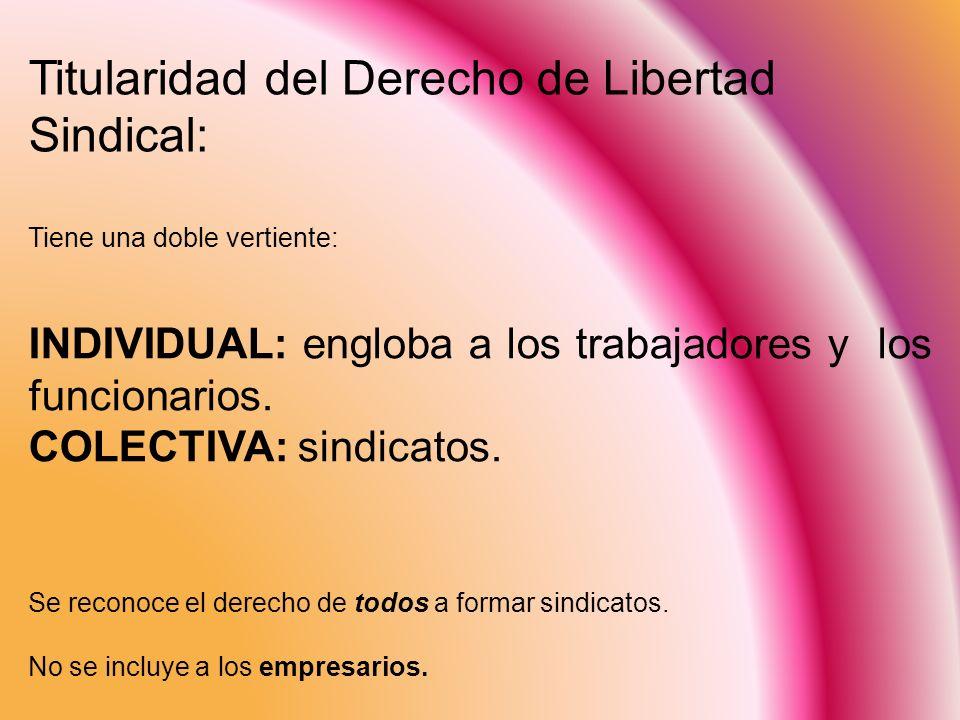 Titularidad del Derecho de Libertad Sindical: