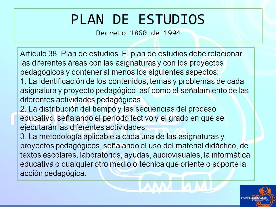 PLAN DE ESTUDIOS Decreto 1860 de 1994