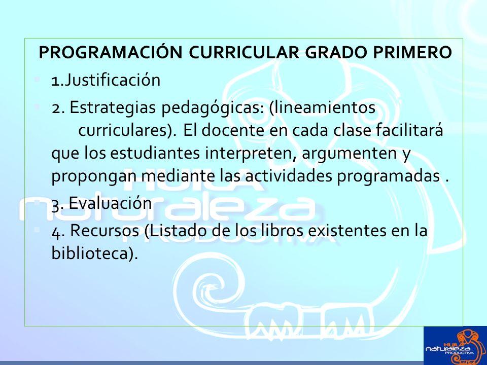 PROGRAMACIÓN CURRICULAR GRADO PRIMERO
