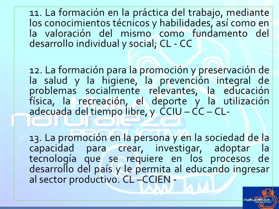 11. La formación en la práctica del trabajo, mediante los conocimientos técnicos y habilidades, así como en la valoración del mismo como fundamento del desarrollo individual y social; CL - CC
