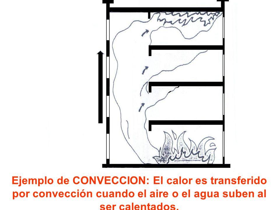 Ejemplo de CONVECCION: El calor es transferido por convección cuando el aire o el agua suben al ser calentados.