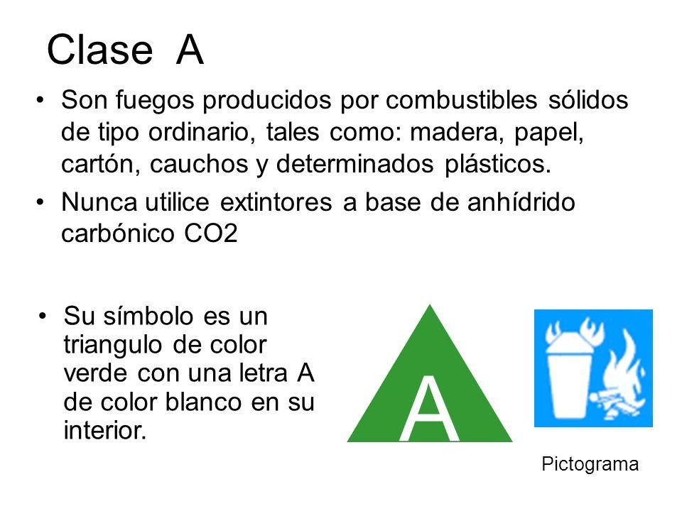 Clase ASon fuegos producidos por combustibles sólidos de tipo ordinario, tales como: madera, papel, cartón, cauchos y determinados plásticos.