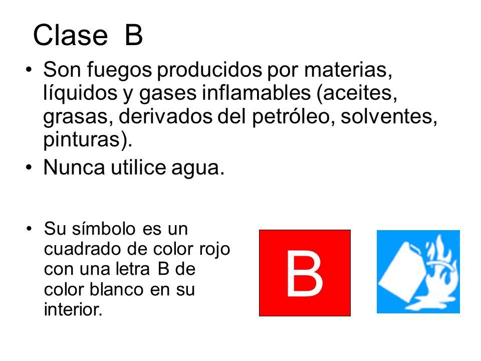 Clase B Son fuegos producidos por materias, líquidos y gases inflamables (aceites, grasas, derivados del petróleo, solventes, pinturas).
