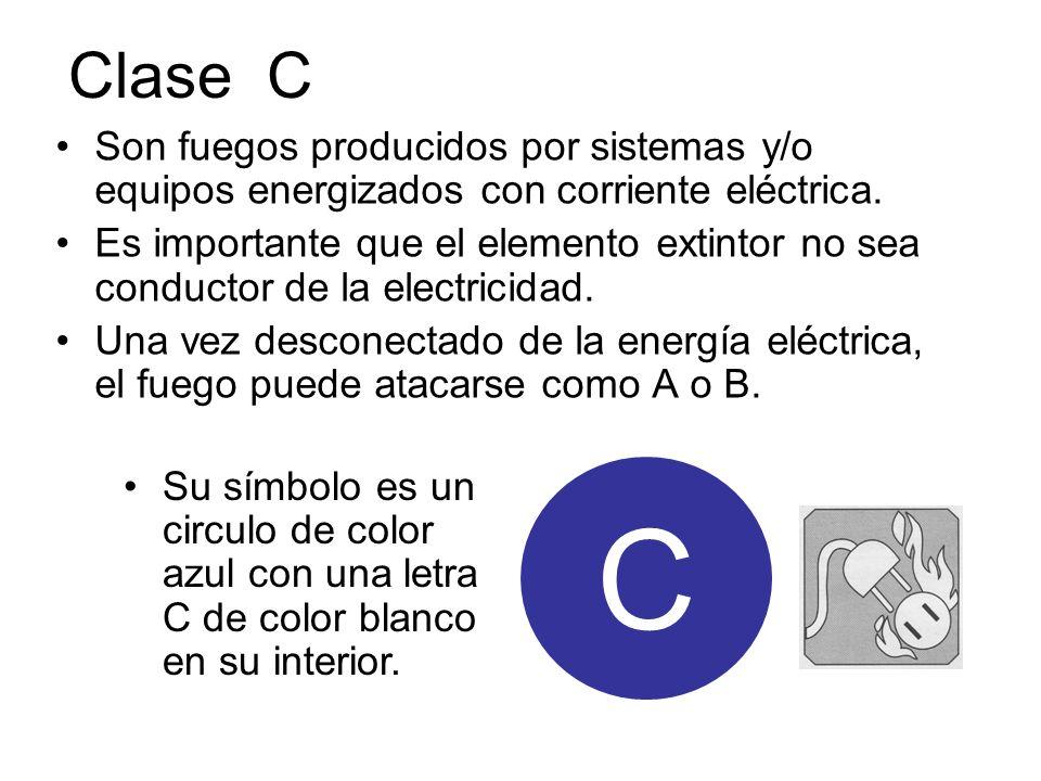 Clase C Son fuegos producidos por sistemas y/o equipos energizados con corriente eléctrica.