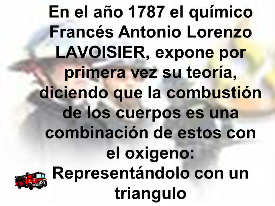 En el año 1787 el químico Francés Antonio Lorenzo LAVOISIER, expone por primera vez su teoría, diciendo que la combustión de los cuerpos es una combinación de estos con el oxigeno: Representándolo con un triangulo