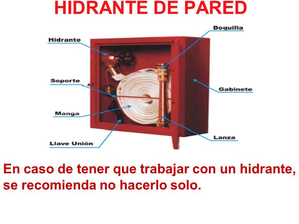 HIDRANTE DE PARED En caso de tener que trabajar con un hidrante, se recomienda no hacerlo solo.