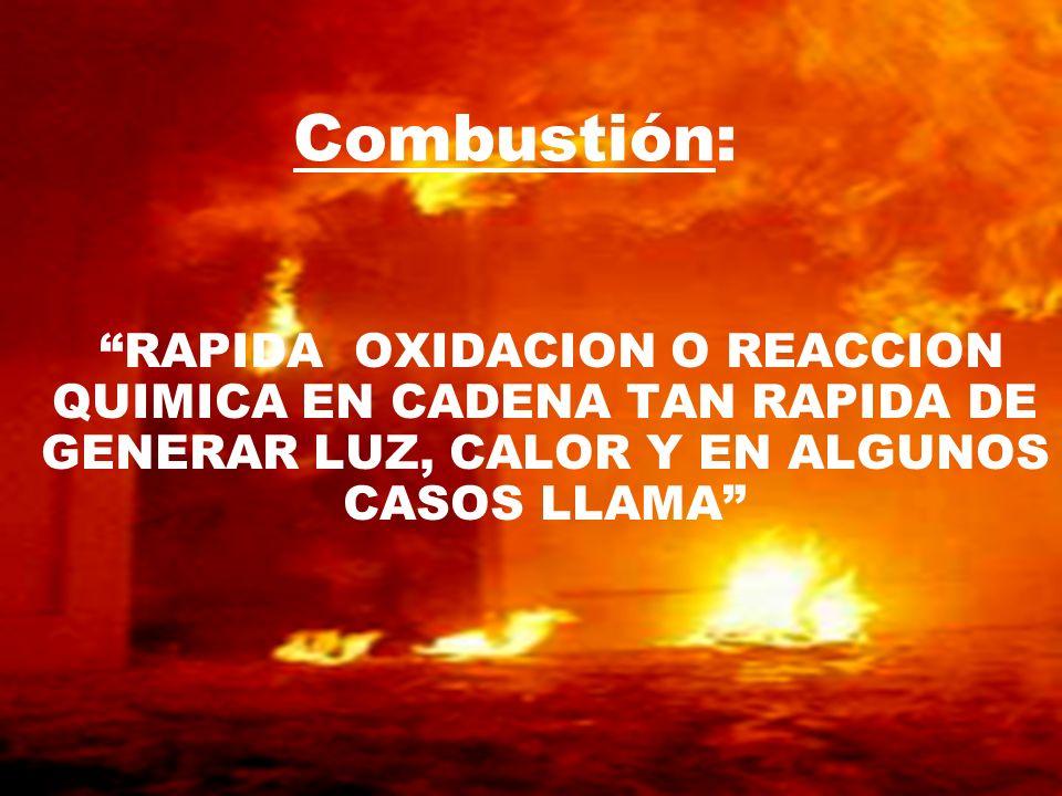 Combustión: RAPIDA OXIDACION O REACCION QUIMICA EN CADENA TAN RAPIDA DE GENERAR LUZ, CALOR Y EN ALGUNOS CASOS LLAMA