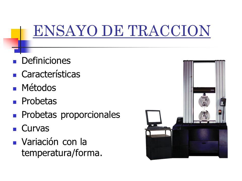 ENSAYO DE TRACCION Definiciones Características Métodos Probetas