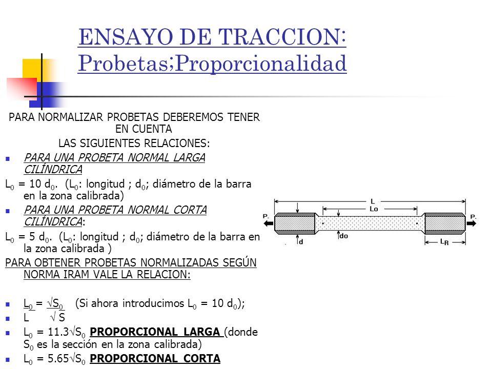 ENSAYO DE TRACCION: Probetas;Proporcionalidad