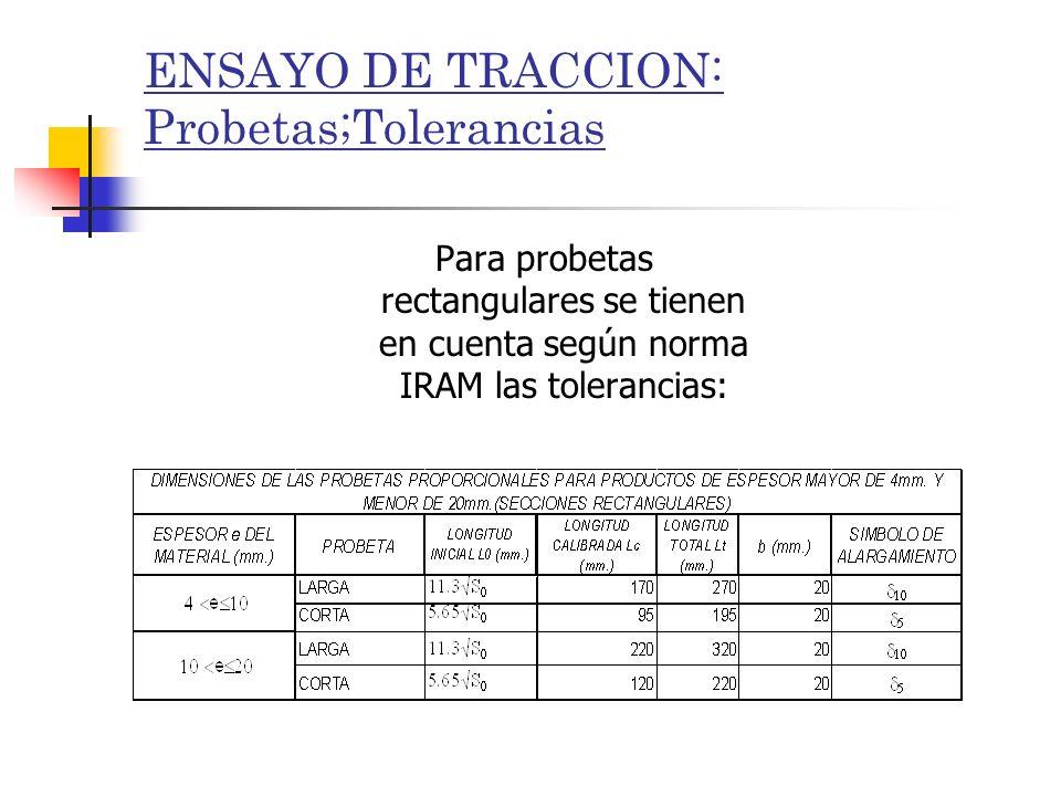 ENSAYO DE TRACCION: Probetas;Tolerancias