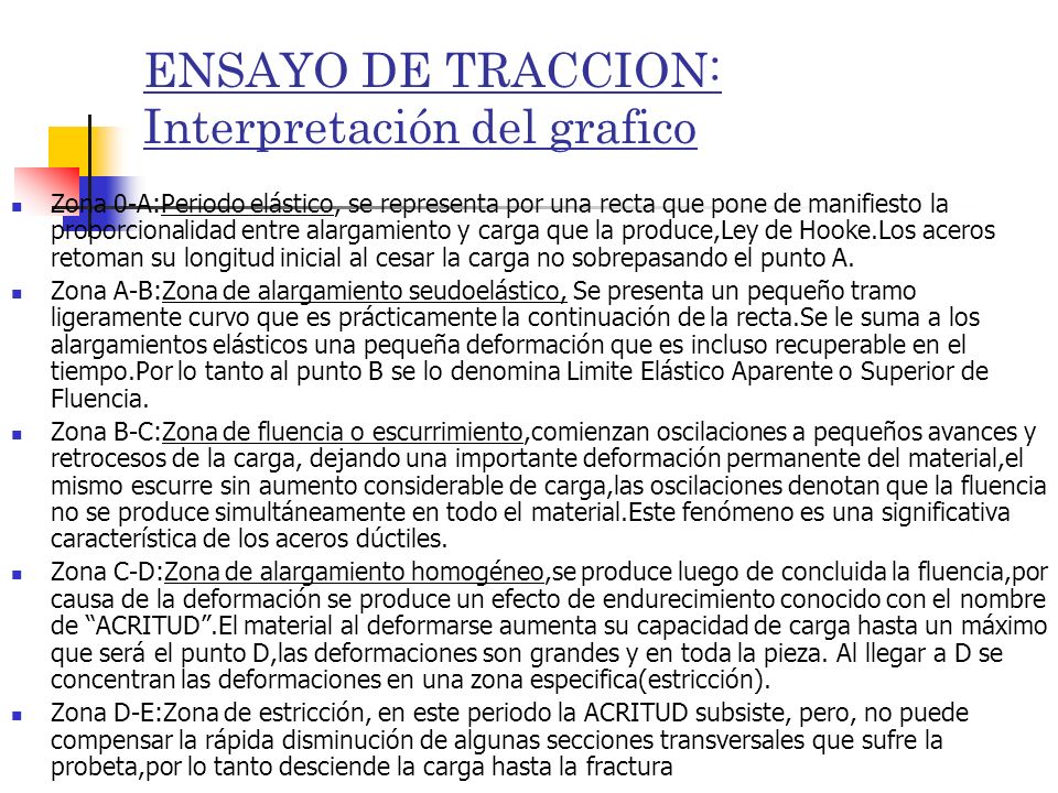 ENSAYO DE TRACCION: Interpretación del grafico