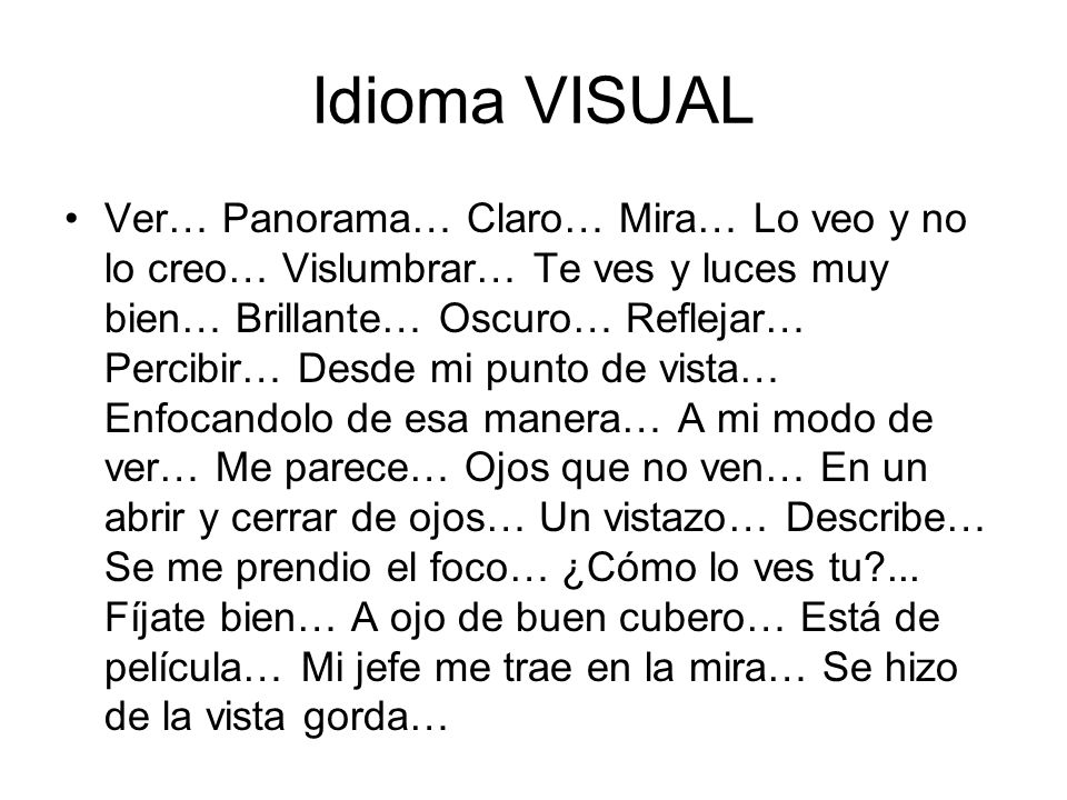 Idioma VISUAL