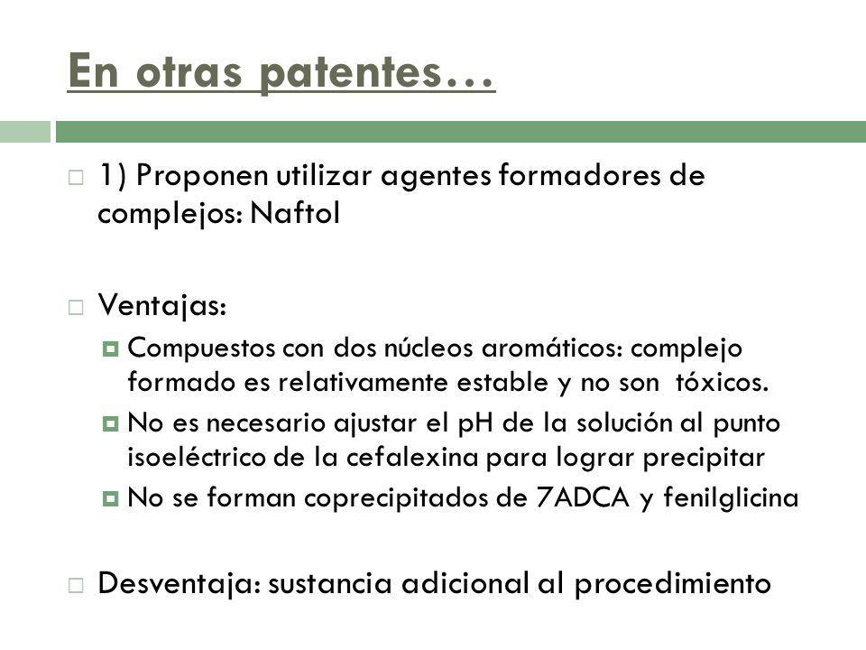 En otras patentes… 1) Proponen utilizar agentes formadores de complejos: Naftol. Ventajas: