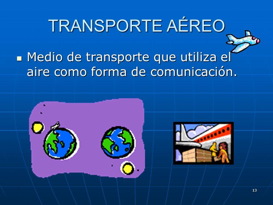 TRANSPORTE AÉREO Medio de transporte que utiliza el aire como forma de comunicación.
