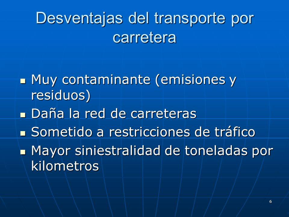 Desventajas del transporte por carretera