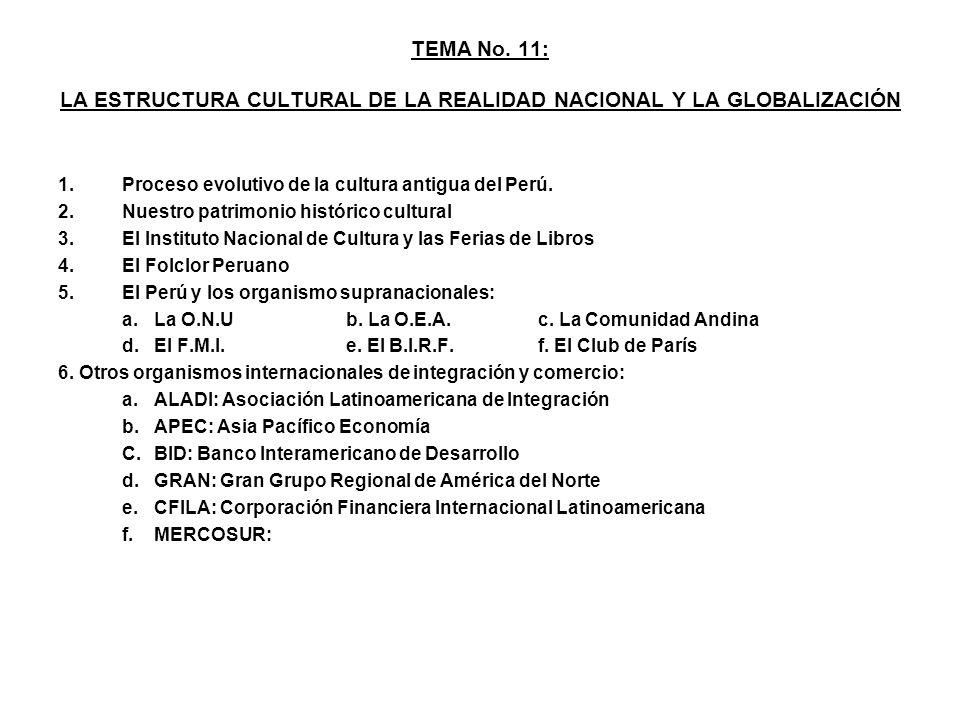 TEMA No. 11: LA ESTRUCTURA CULTURAL DE LA REALIDAD NACIONAL Y LA GLOBALIZACIÓN