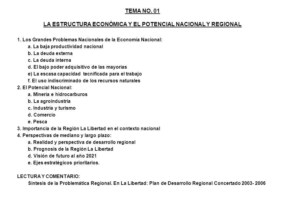 TEMA NO. 01 LA ESTRUCTURA ECONÓMICA Y EL POTENCIAL NACIONAL Y REGIONAL