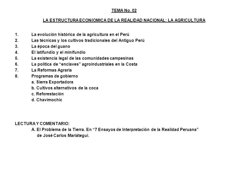 TEMA No. 02 LA ESTRUCTURA ECON{OMICA DE LA REALIDAD NACIONAL: LA AGRICULTURA