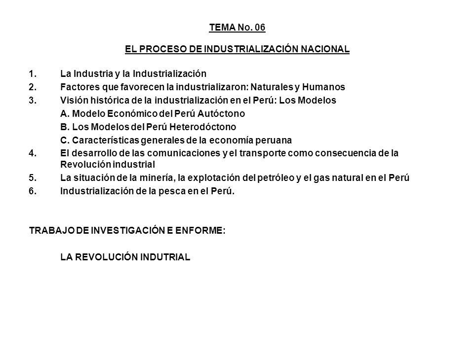 TEMA No. 06 EL PROCESO DE INDUSTRIALIZACIÓN NACIONAL