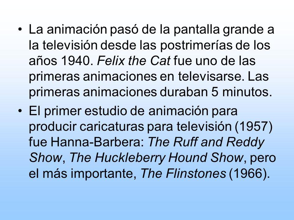 La animación pasó de la pantalla grande a la televisión desde las postrimerías de los años 1940. Felix the Cat fue uno de las primeras animaciones en televisarse. Las primeras animaciones duraban 5 minutos.