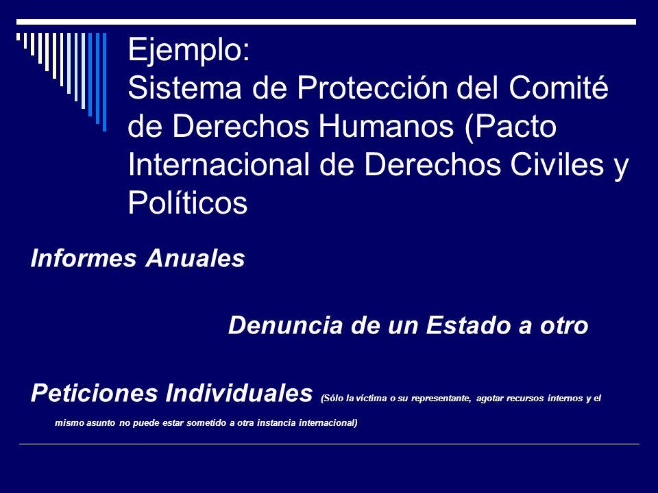 Ejemplo: Sistema de Protección del Comité de Derechos Humanos (Pacto Internacional de Derechos Civiles y Políticos