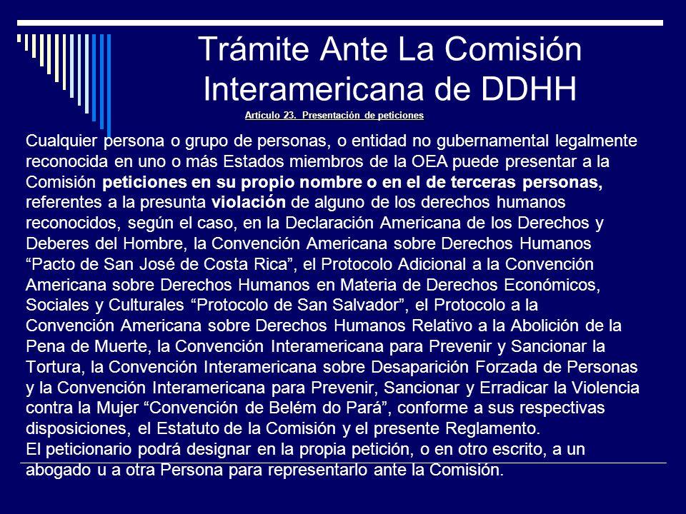 Trámite Ante La Comisión Interamericana de DDHH