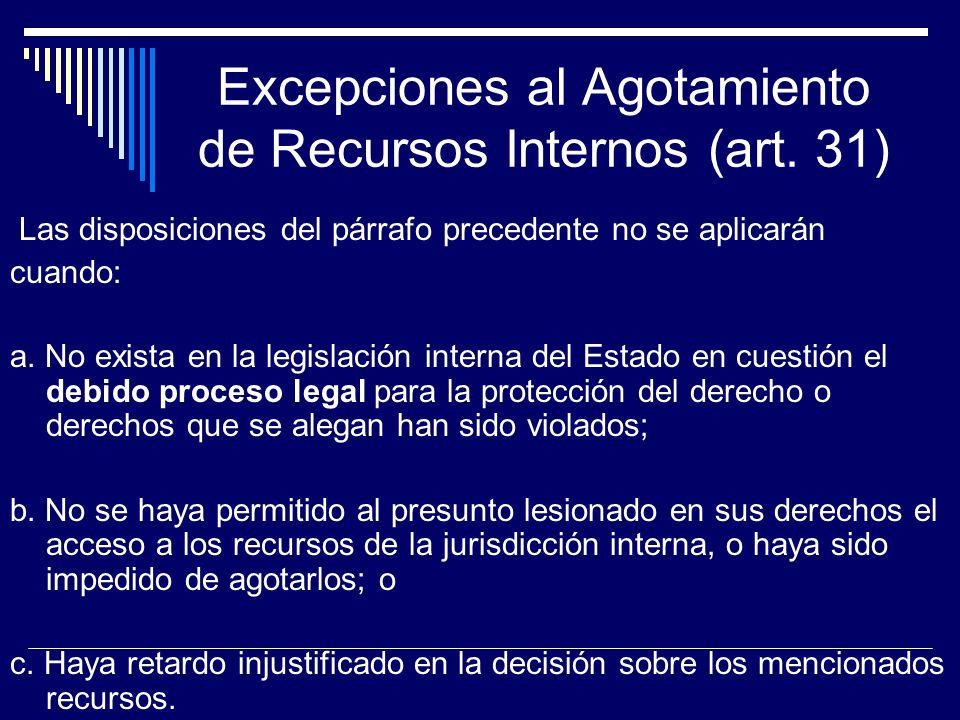 Excepciones al Agotamiento de Recursos Internos (art. 31)