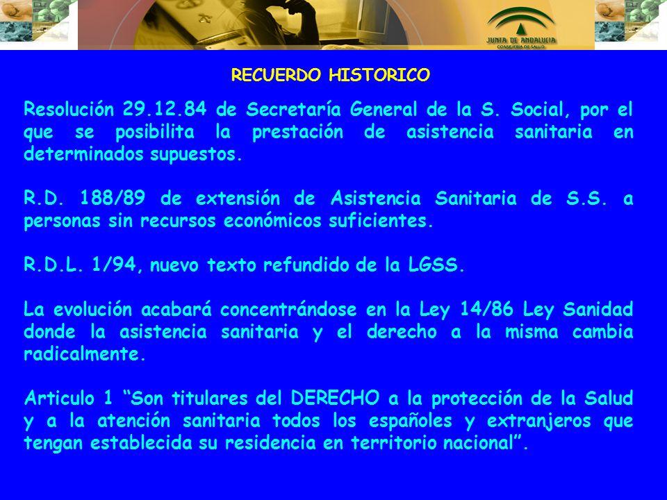 R.D.L. 1/94, nuevo texto refundido de la LGSS.