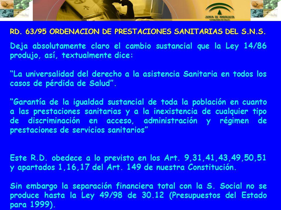 RD. 63/95 ORDENACION DE PRESTACIONES SANITARIAS DEL S.N.S.