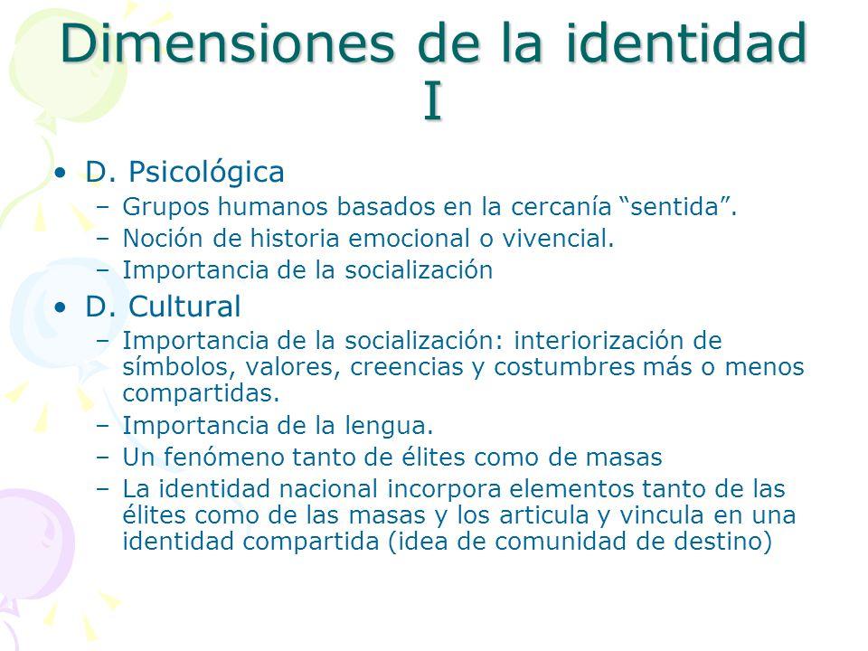 Dimensiones de la identidad I