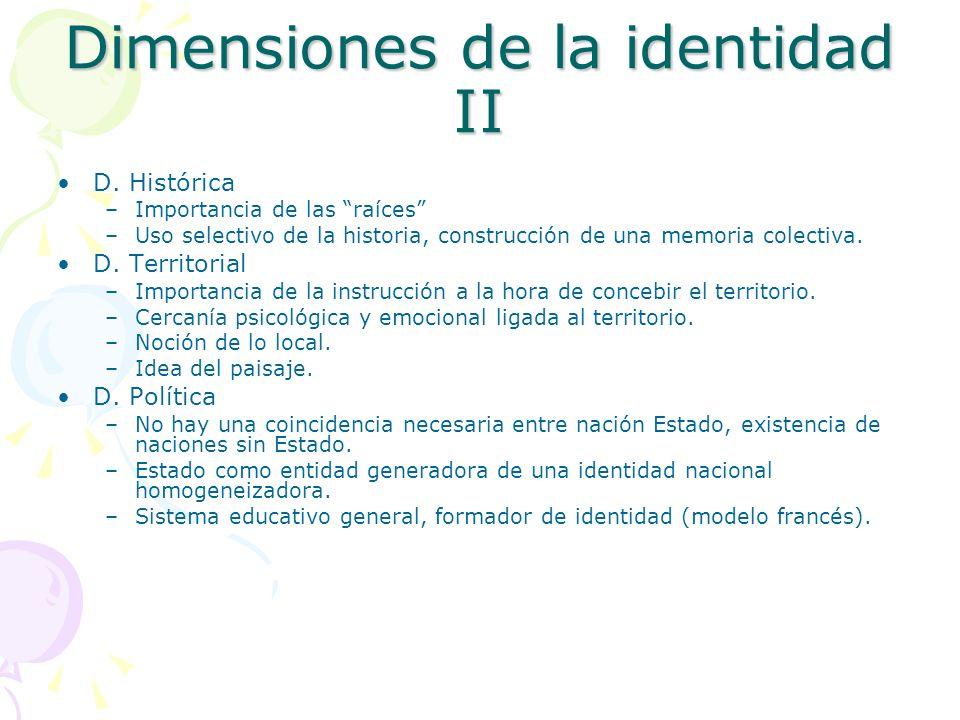 Dimensiones de la identidad II