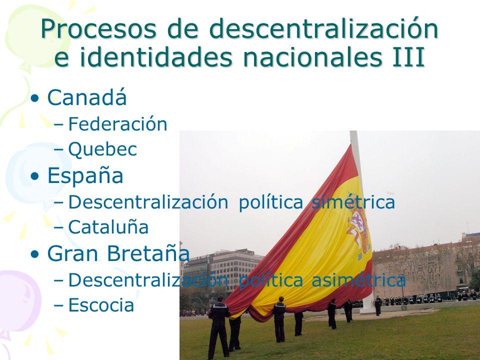 Procesos de descentralización e identidades nacionales III