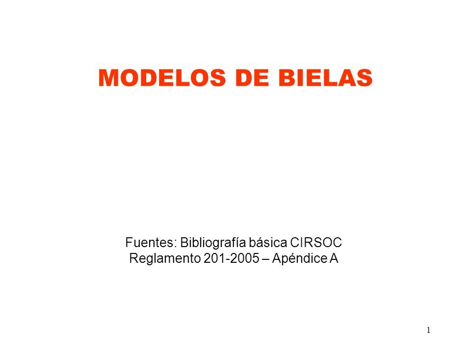 MODELOS DE BIELAS Fuentes: Bibliografía básica CIRSOC