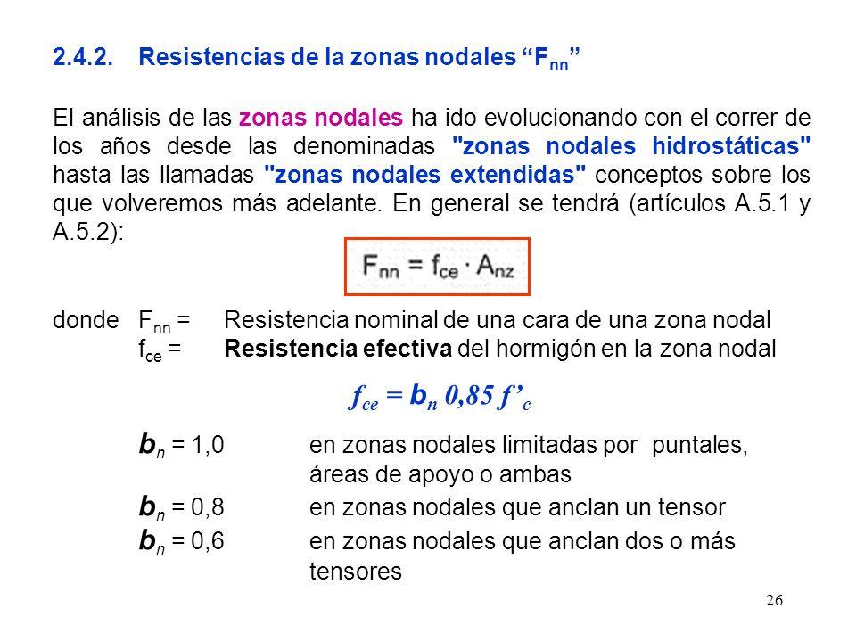 fce = bn 0,85 f'c 2.4.2. Resistencias de la zonas nodales Fnn